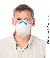 Young man in dust respirator