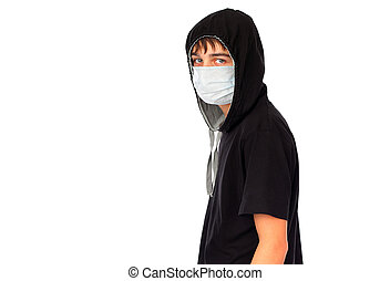 Young Man in Flu Mask