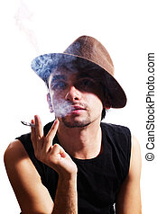 young man in hat with cigarette