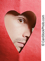 young man in heart-shaped