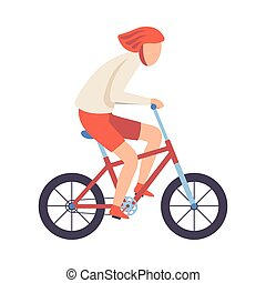 Young Man in Helmet Riding Bicycle, Cycling Guy Exercising, Active Healthy Lifestyle Vector Illustration