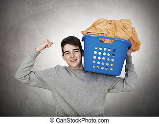 young man in laundry clothes