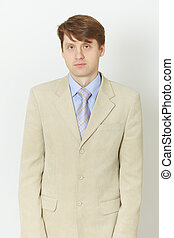 Young man in light jacket - front view