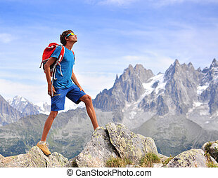 Young man in mountains