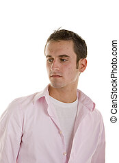 Young Man in Pink Shirt Eyes Down and Right