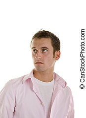 Young Man in Pink Shirt Eyes Up and Right