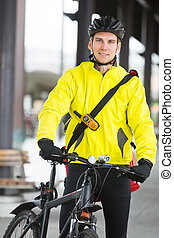 Young Man In Protective Gear With Bicycle - Portrait of ...