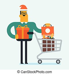 Young man in santa hat buying christmas gifts.