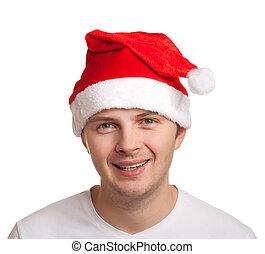 Young man in santa hat