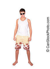 young man in shorts
