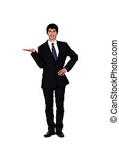 Young man in smart suit on white background