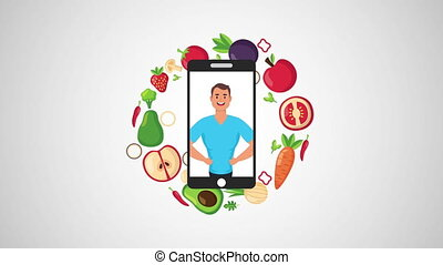 young man in smartphone with healthy life style and vegan food