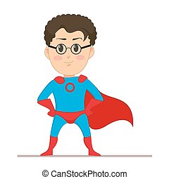 Young man in super hero costume. The man in glasses with developing a red cape on his back. Flat character isolated on white background. Vector, illustration EPS10.