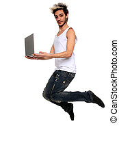 young man in the air holding a notebook