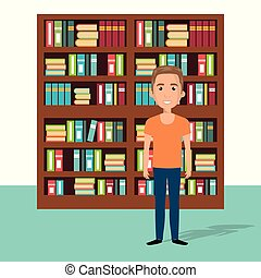 young man in the library character scene