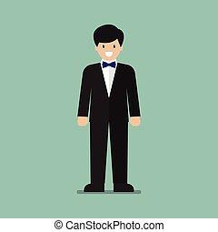 Young man in tuxedo
