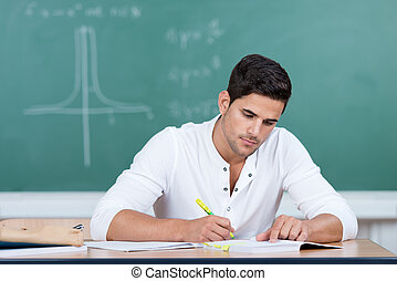 Young man in university