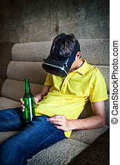 Young Man in VR Glasses