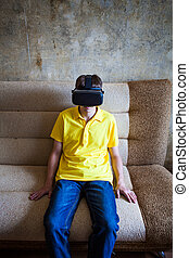 Young Man in VR Mask
