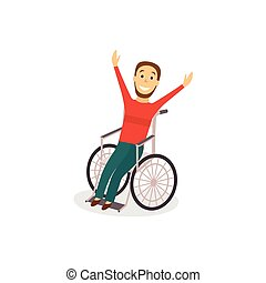 Young man in wheelchair, rehabilitation concept