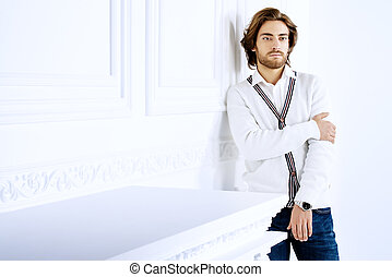 young man in white