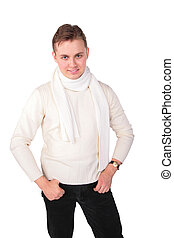 young man in white sweater poses