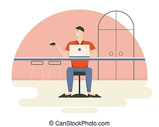 Young man is enjoying coffee and working in coffee shop