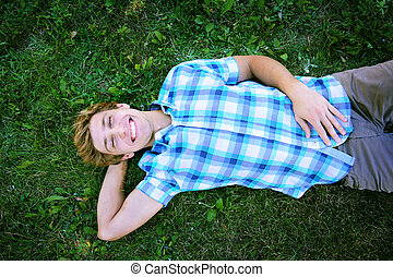 Young man is having a rest