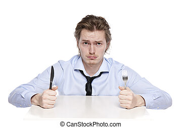 Young man is hungry. Studio photo of hungry man, isolated on...