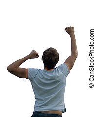 Young man is jumping on white background