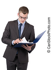 Young man is looking into a file
