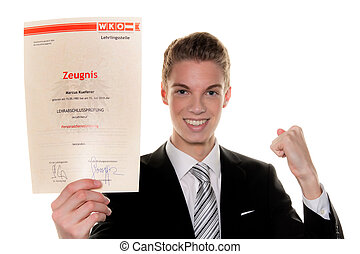 Young man is successful final examination