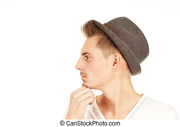 Young man isolated on a white background