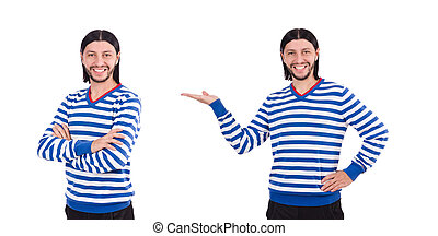 Young man isolated on white