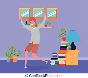 young man jumping in the livingroom