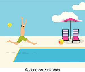 Young man jumping into a tropical swimming pool while on vacations at tropical resort