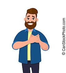 Young man keeping hands on chest. Smiling friendly bearded man expressing gratitude. Emotion and body language concept in cartoon style vector illustration.