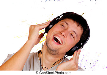Young man listening music.