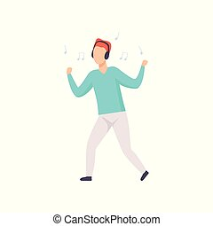 Young man listening music with headphones and dancing, guy enjoying music vector Illustration on a white background