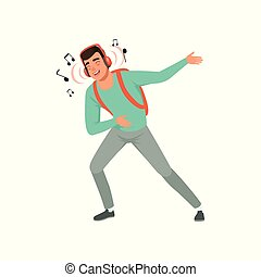 Young man listening to music with headphones and dancing vector Illustration on a white background