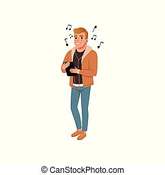 Young man listening to music with headphones vector Illustration on a white background