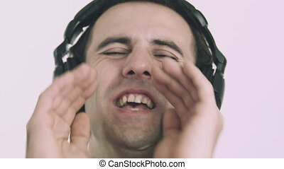 Young man listening with headphones