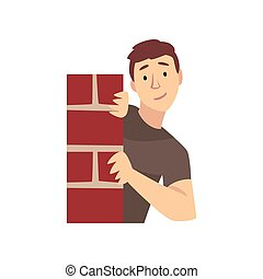 Young Man Looking From Behind Corner of Brick Wall Cartoon Vector Illustration