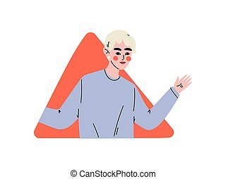 Young Man Looking Out of Red Triangular Window Vector...