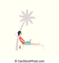 Young man lying on hammock with laptop, remote working, freelance concept vector Illustration on a white background