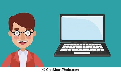 Young man making money from laptop with stock exchange High Definition colorful animation scenes