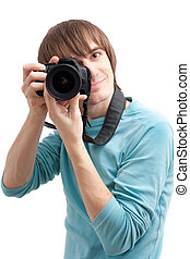 Young man making photo
