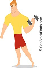 Young man, male bodybuilder, weightlifter doing bicep workout, training arms with dumbbells,