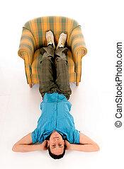 Young man meditating yoga