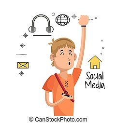 young man mobile phone social media icons
